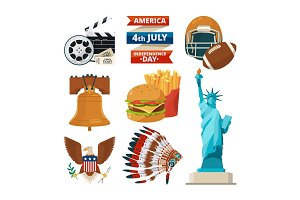 Culture objects of americans usa. Vector illustrations in cartoon style