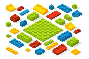 Isometric constructor blocks at different colors