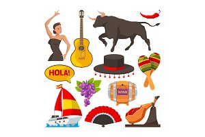 Travel pictures of spain cultural objects. Cartoon style illustrations isolate