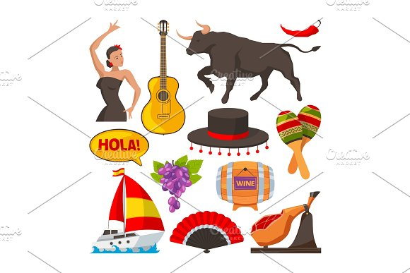 Travel Pictures Of Spain Cultural Objects Cartoon Style Illustrations Isolate