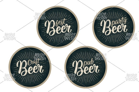 Beer Calligraphic Lettering Coaster
