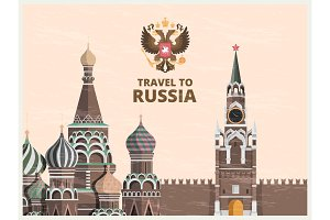 Vintage poster or travel card with illustrations of kremlin russian cultural landmarks