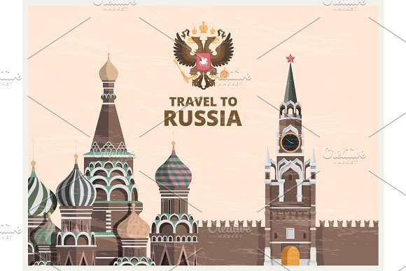 Vintage Poster Or Travel Card With Illustrations Of Kremlin Russian Cultural Landmarks