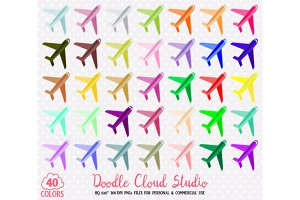 40 Colorful Airplane Clipart