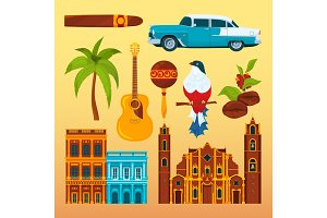 Havana cigar and others differents cultural objects and symbols of Cuba