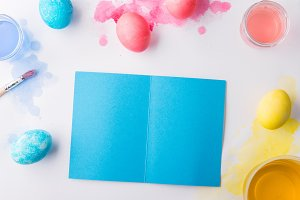 Easter and spring flat lay on a white background. Copy space.