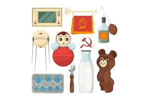 Back to ussr. Symbols and traditional historical landmarks of soviet union