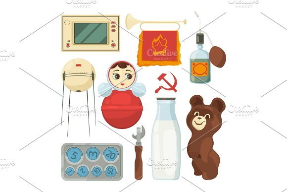 Back To Ussr Symbols And Traditional Historical Landmarks Of Soviet Union