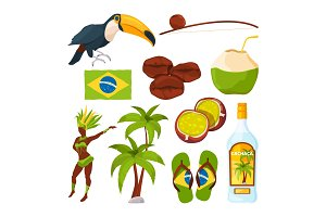 Vector collection of different brazilian symbols