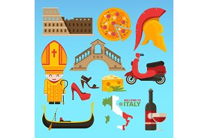 Italian symbols isolate. Vector pictures in flat style