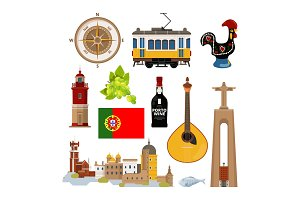 Historical symbols of Portugal Lissabon. Vector icon set in flat style