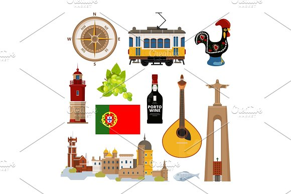 Historical Symbols Of Portugal Lissabon Vector Icon Set In Flat Style