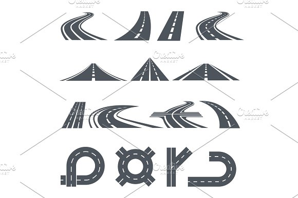 Isolated Vector Pictures Of Pathway Different Roads And Long Highway