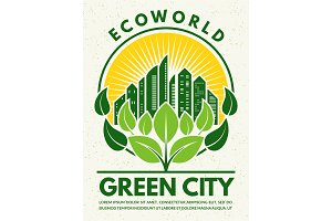 Poster in retro style to the eco theme. Protect your city