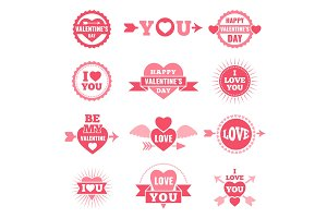 Labels and badges for valentine day. Love symbols