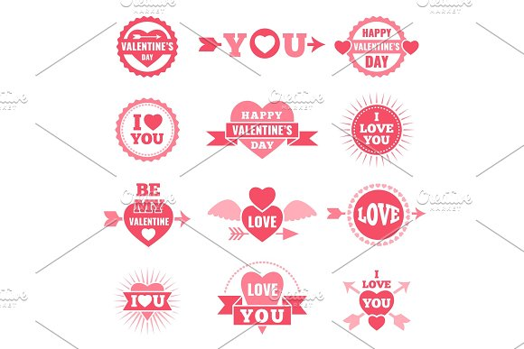 Labels And Badges For Valentine Day Love Symbols