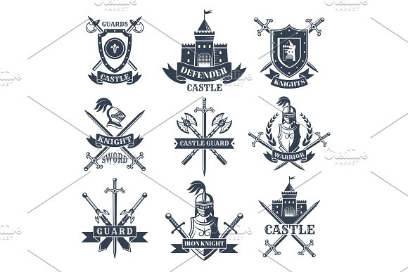 Labels Or Badges Set With Pictures Of Medieval Knights Helmets And Swords