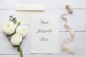 Wedding invite mockup-handmade paper
