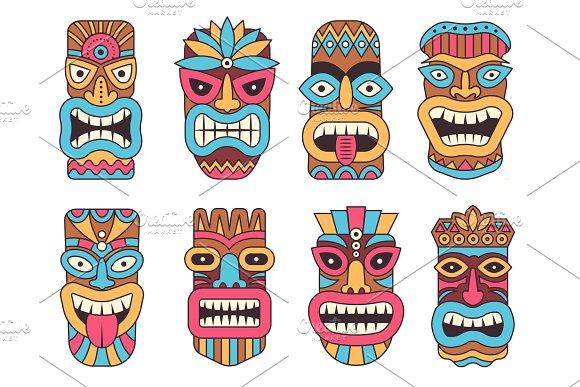 Hawaiian Mask Of Tiki God Wooden African Sculpture
