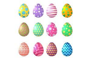 Cartoon eggs. Celebration symbols of Easter