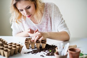 Young woman planting seeds at home.