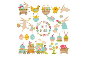 Vintage elements set of easter theme. Rabbits, eggs, ribbons and others symbols