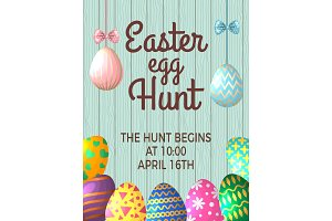 Vintage poster template with place for your text and illustrations of easter eggs