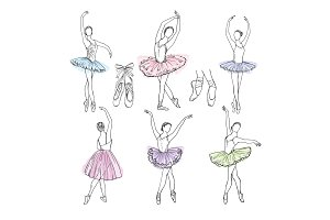 Artistic hand drawn pictures set of theatre theme. Ballerinas dancing
