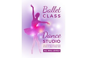 Poster invitation in ballet school. Vector design template with place for your text