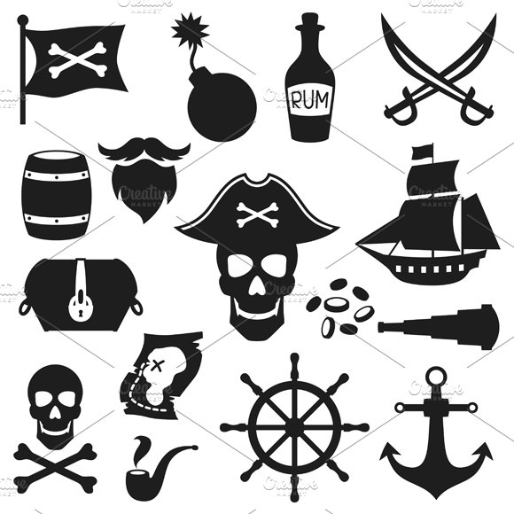 Objects on pirate theme. ~ Objects ~ Creative Market