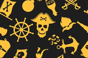 Seamless patterns on pirate theme.
