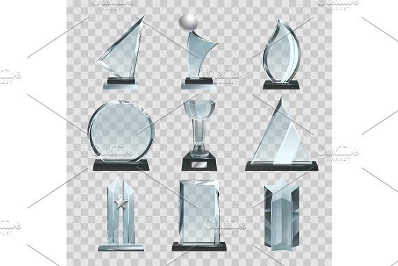 Glossy Transparent Trophies Awards And Winner Cups Vector Illustrations