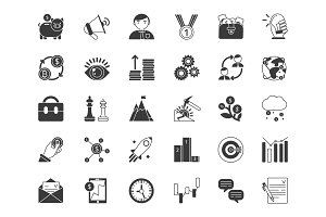 Business and finance symbols. Monochrome icons set isolate on white background