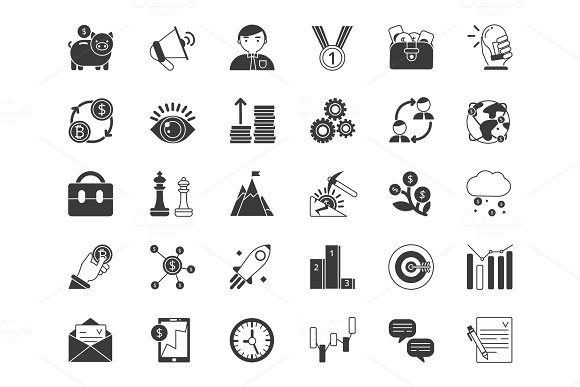 Business And Finance Symbols Monochrome Icons Set Isolate On White Background