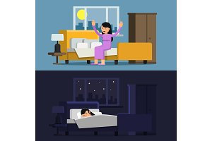Illustrations of relaxed woman. Sleeping girl in bed. Female in the morning