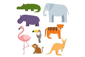 Cartoon clipart of wild animals. Australian fauna