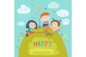 Happy children gardening