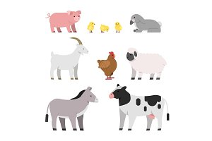 Vector illustrations of farm animals