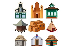 Tribal small houses of different nationalities isolated on white background