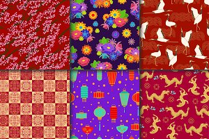 Asian pattern seamless vector asia