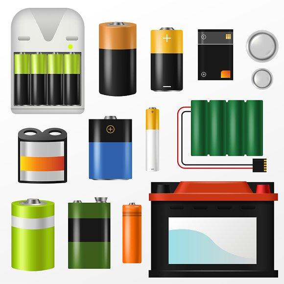Battery Vector Pile Of Power Alkalin