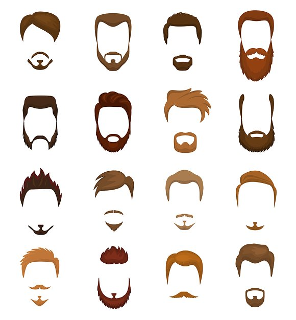 Beards Vector Portraite Bearded Man