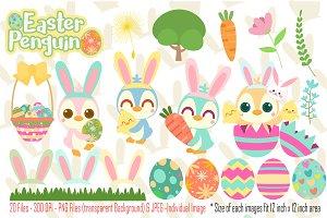 Easter Penguin Digital Clipart