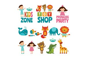 Funny illustrations of kids and animals. Vector logos for childrens