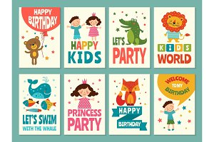 Design template of cards for childrens. Labels for packaging