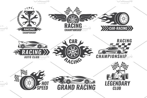 Monochrome Labels And Badges Of Sport Labels Racing Cars