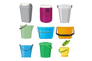 Different containers and buckets. Vector illustrations in cartoon style
