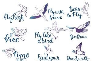 Bird lettering vector text fly logo