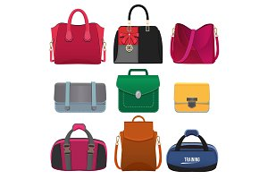 Beautiful handbags for women. Vector pictures set