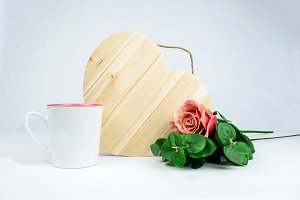Front heart, cup and rose